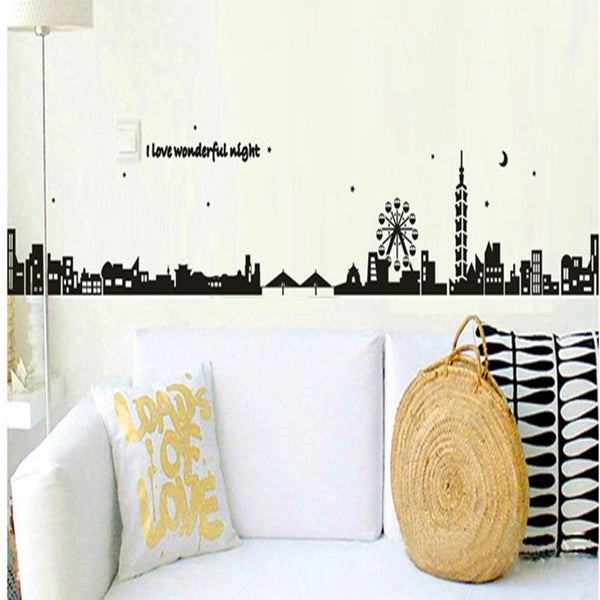Black city silhouette creative combination sofa background adornment wall posts