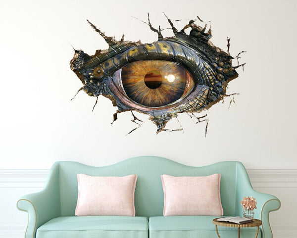 Big Dinosaur Eye 3D Wall Stickers Creative Removable Wall Stickers 3d movie wall stickers room decorations