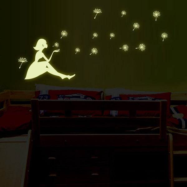 Dandelion Girl luminous glow in the dark Stickers Living Room Bedroom Decoration Wall Stickers
