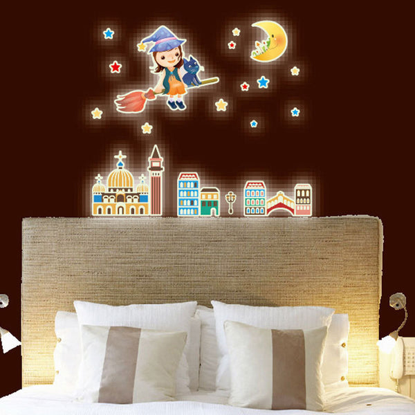 A Set Kids Bedroom Fluorescent Glow In The Dark Stars Wall Stickers Home Decor Mural Decal