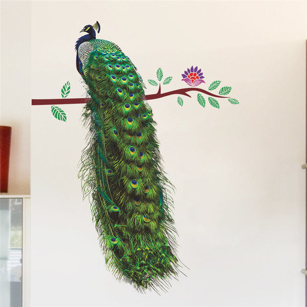 Colourful Animals Peacock On Branch Feathers Wall Stickers 3d Vivid Wall Decals Home Decor Art Decal Poster Animals Home Decor
