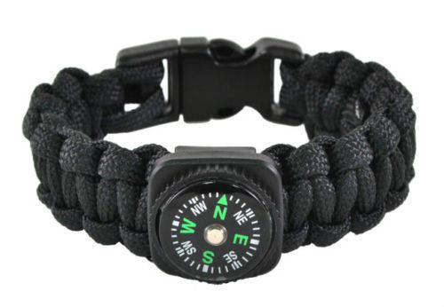 Paracord Bracelet with Compass with Fire Starter, Emergency Whistle