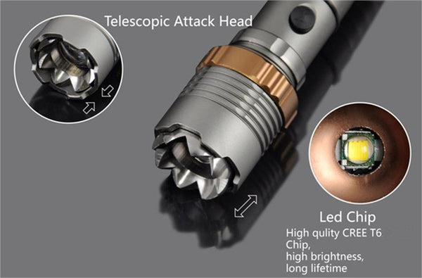 Self Defense LED flashlight 4000LM Rechargeable Torch Lamp