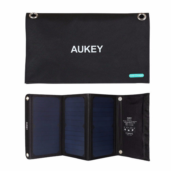 AUKEY Solar Charger ,Solar Panel with Dual USB Port