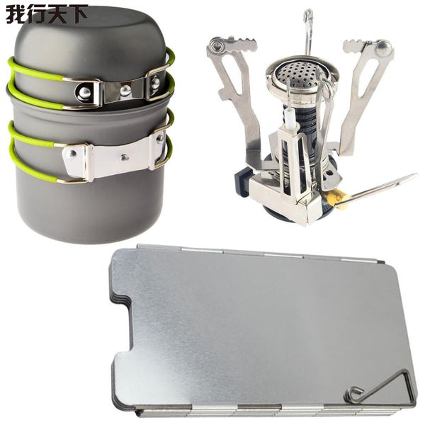 Camping Gas Stove + Cooking Pot Set  + Aluminum Wind Deflector
