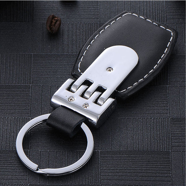 Leather and Steel Car Keychain