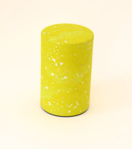 Green Washi Tea Tin - with gold and silver sparkles