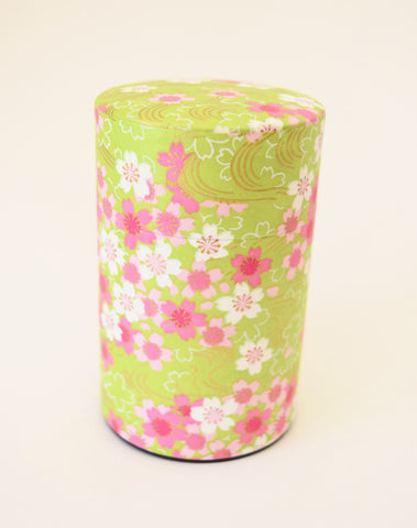 Green Washi Tea Tin - with pink and white flowers