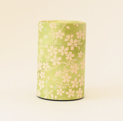 Green Washi Tea Tin - with yellow flowers