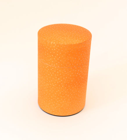 Orange washi tea tin - with golden dots