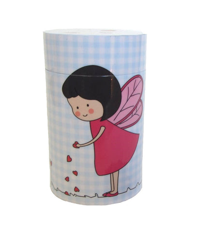 Pink fairy sowing hearts on blue gingham