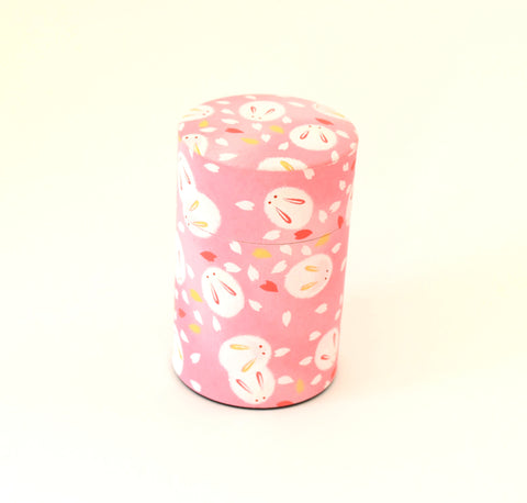 Pink washi tea tin - with cute bunnies