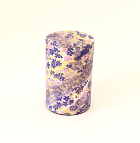 Purple Washi Tea Tin - with flowers