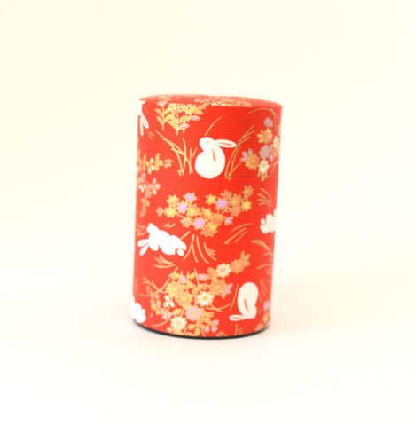 Red washi tea tin - with bunnies