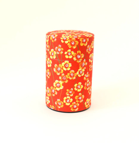 Red washi tea tin - with flowers