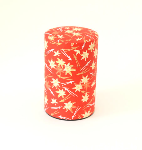 Red washi tea tin - with leaves