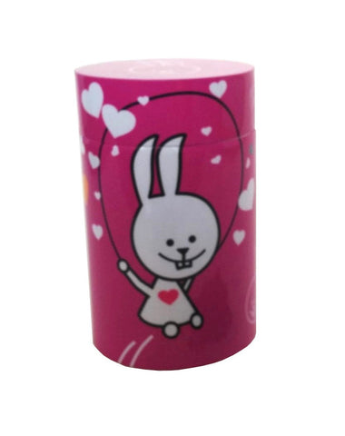 Jumping bunny on dark pink background