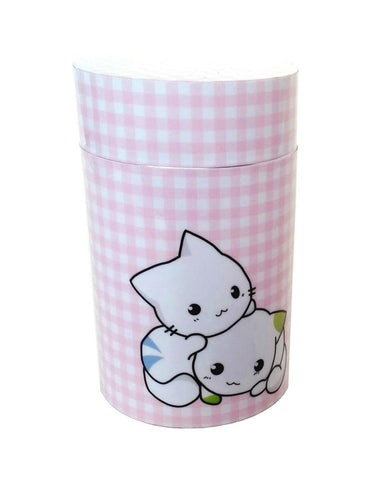 Two cute cats on pink gingham