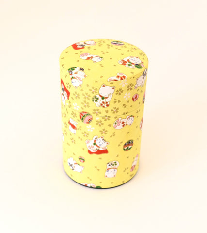 Yellow washi tea tin - with cute cats