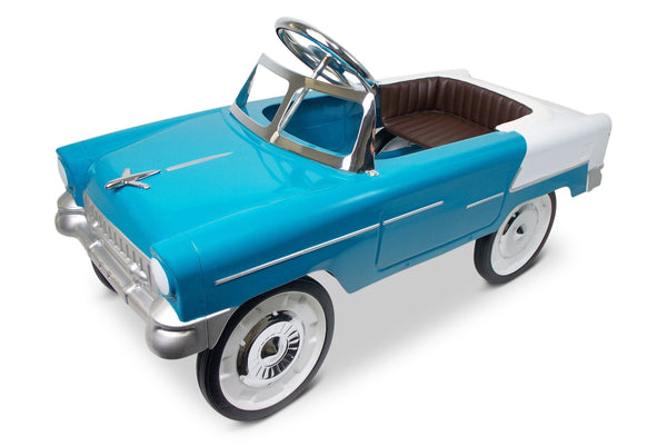 Aqua and White 55 Classic Pedal Car Turned