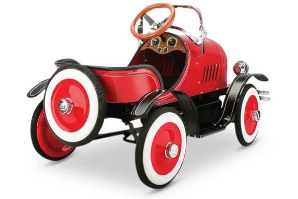 Red and Black Model A Roadster Pedal Car Rear View