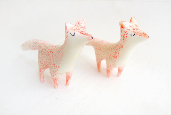 Little Ceramic Miniature in White Clay and Red Fox Shaped. Ready To Ship