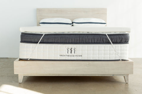 Brentwood Home mattress with a firm foam mattress topper