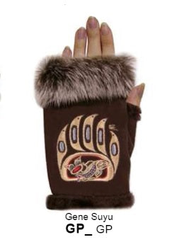 Rabbit Fur Trim Gloves - Bear Claw