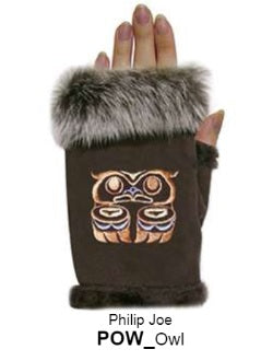 Rabbit Fur Trim Gloves - Owl