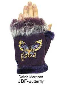 Rabbit Fur Trim Gloves - Butterfly
