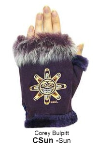 Rabbit Fur Trim Gloves - Sun