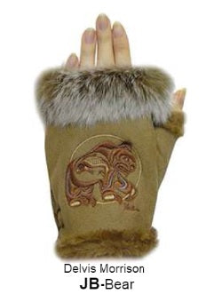 Rabbit Fur Trim Gloves - Bear