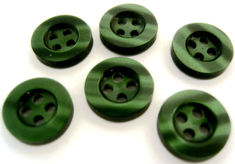 B7191 11mm Bottle Green Pearlised Polyester 4 Hole Button