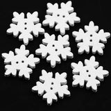 B13631 18mm White Wooden Snowflake Design Novelty 2 Hole Button