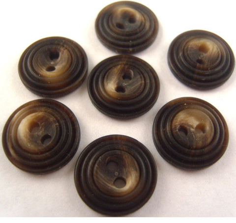 B0008C 15mm Dark Brown and Aaran Cream Bone Sheen 2 Hole Buttons