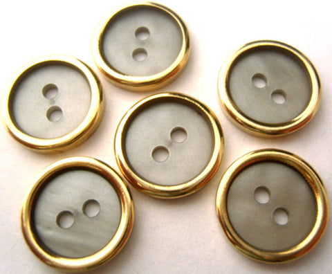 B0081 14mm Blue Grey and Gold Metal Button with a Shell Effect Centre - Ribbonmoon
