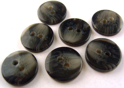B0099 15mm Black and Grey 2 Hole Button - Ribbonmoon