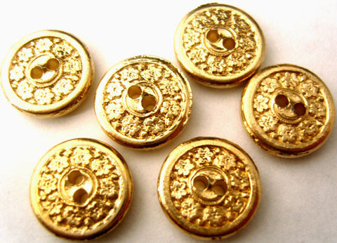 B0101 14mm Pale Gold Gilded Poly 2 Hole Button - Ribbonmoon