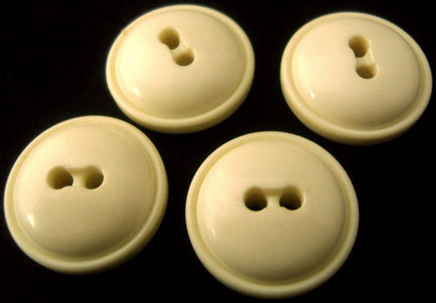 B0627 23mm Ivory Cream Domed Glossy 2 Hole Button - Ribbonmoon