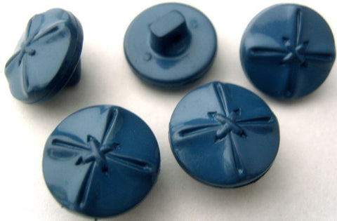 B0766 17mm Tufts Blue Glossy Leather Effect Design Shank Button - Ribbonmoon