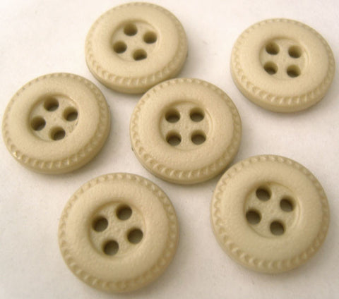 B0826 15mm Pale Beige Leather Effect 4 Hole Button - Ribbonmoon