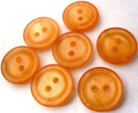 B0837 14mm Orange Peach and Iridescent 2 Hole Button - Ribbonmoon
