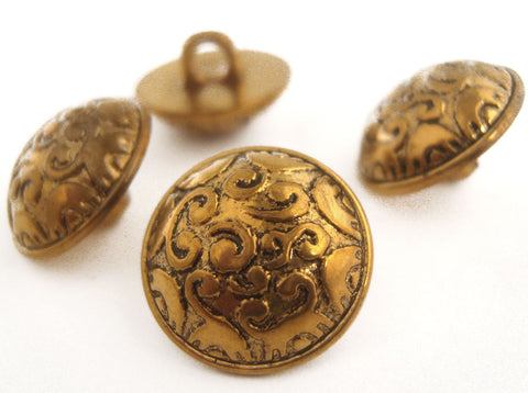 B10287 23mm Antique Bronze Gilded Poly Heavily Domed Shank Button