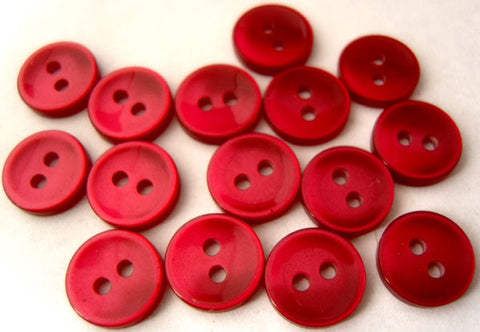 B1074 10mm Cardinal Red Polyester Shirt Type 2 Hole Button - Ribbonmoon