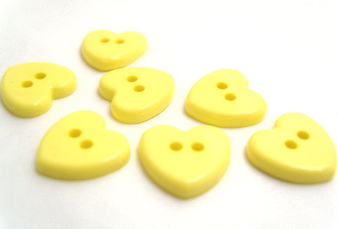 B11301 14mm Primrose Yellow Glossy Love Heart Shaped 2 Hole Button