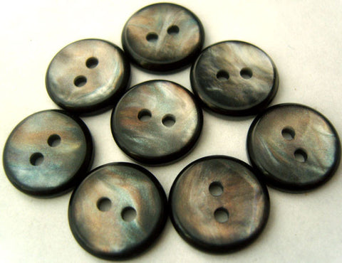 B1140 14mm Nacre Shell Effect Iridescent Black Rim 2 Hole Button - Ribbonmoon