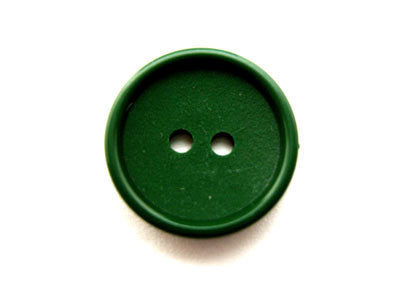 B12016 14mm Deep Green Matt Centre 2 Hole Button - Ribbonmoon