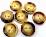 B12838 15mm Creams and Brown Aaran Glossy 2 Hole Button