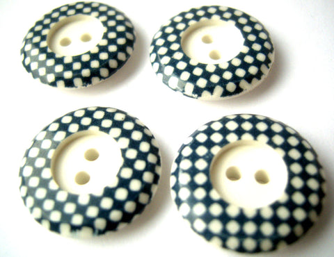 B12915 19mm Ceramic White and Pale Navy Two Hole Button
