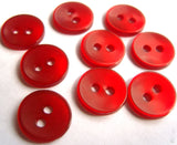 B13035 11mm Red Polyester Shirt Type 2 Hole Button